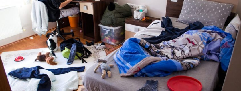 a teenager with a messy room