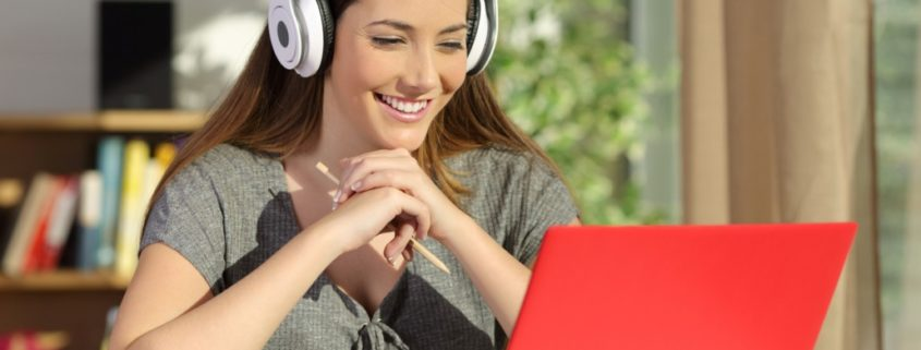 a woman uses online speech therapy to improve grades