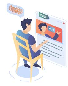 illustrations of a boy sitting in front of a computer screen and an online speech therapist