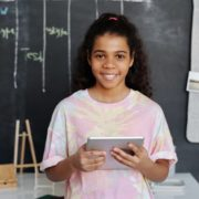 a child doing online speech therapy from home